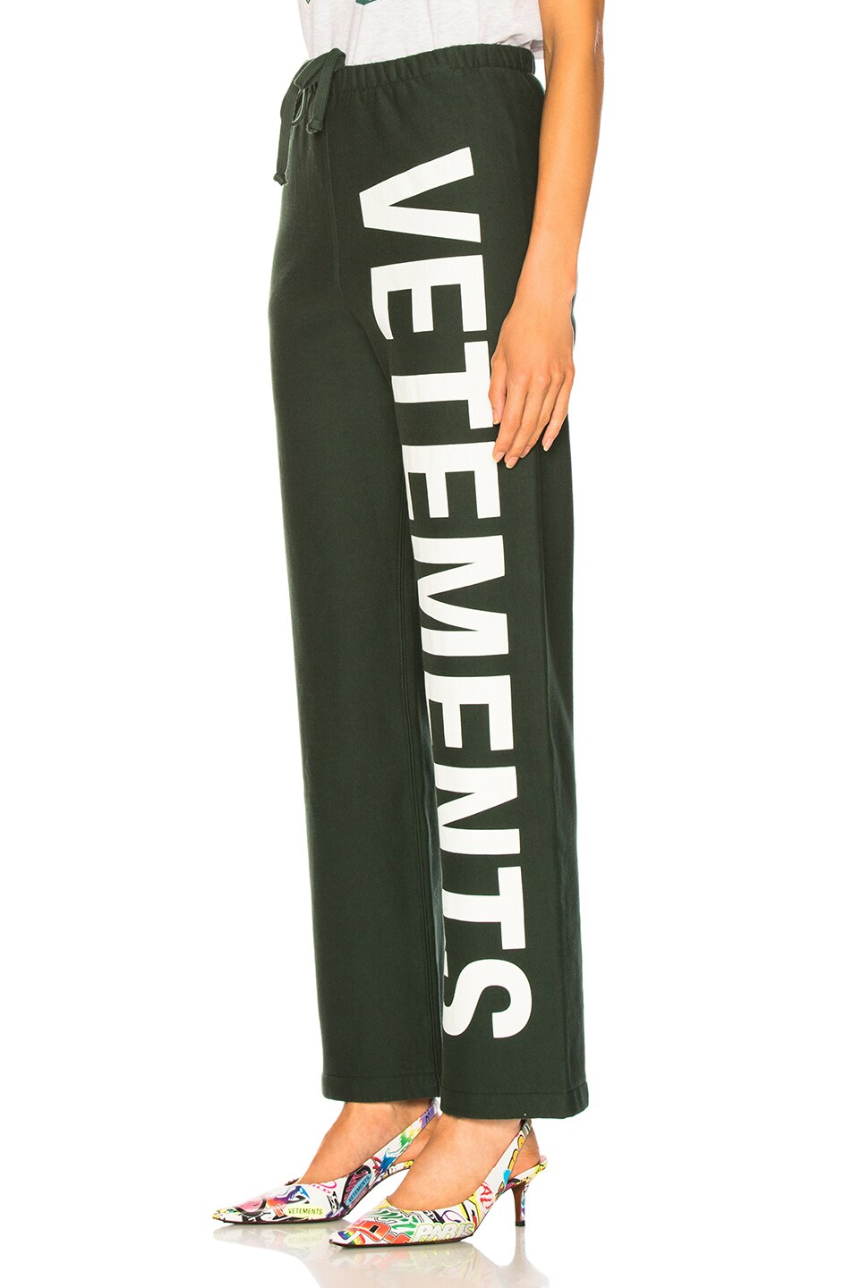 Image 3 of VETEMENTS Logo Sweatpants in Dark Green