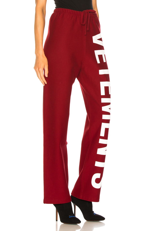 Image 2 of VETEMENTS Logo Sweatpants in Red