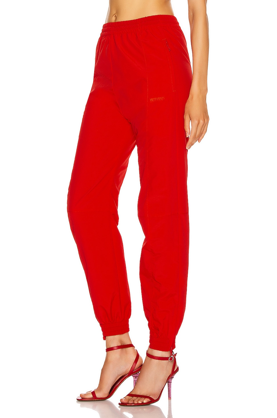 Image 3 of VETEMENTS Cut Up Tracksuit Pant in Red