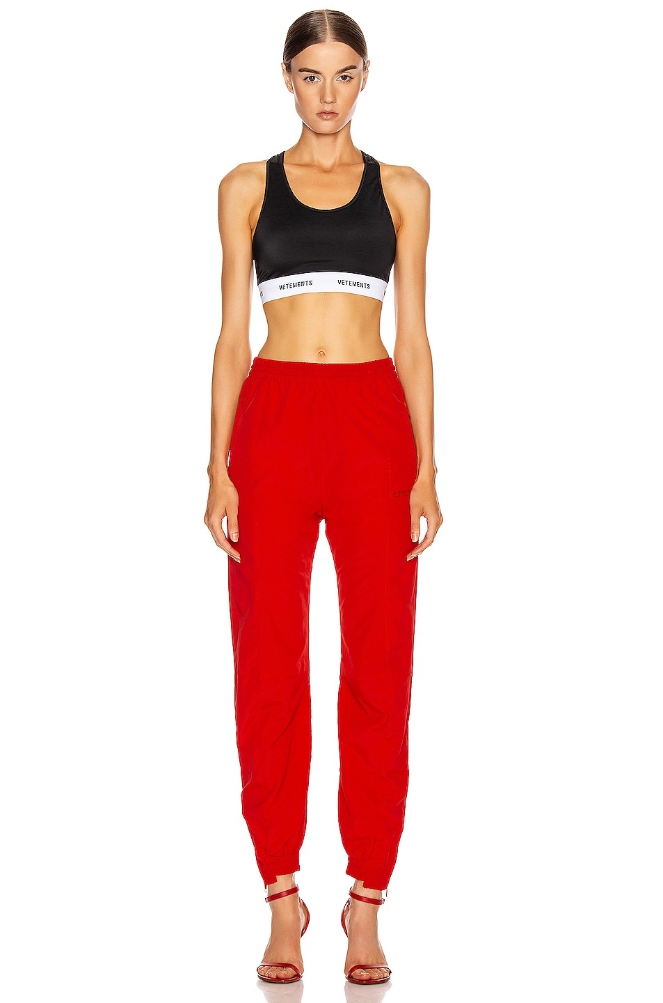 Image 5 of VETEMENTS Cut Up Tracksuit Pant in Red
