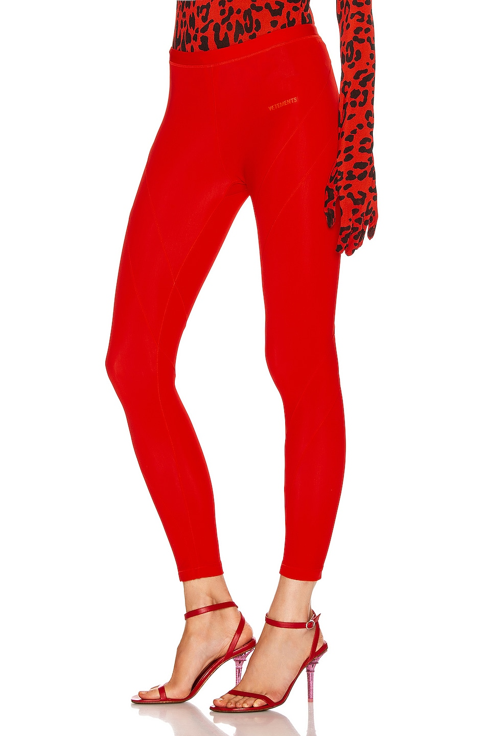 Image 3 of VETEMENTS Cut Up Legging in Red