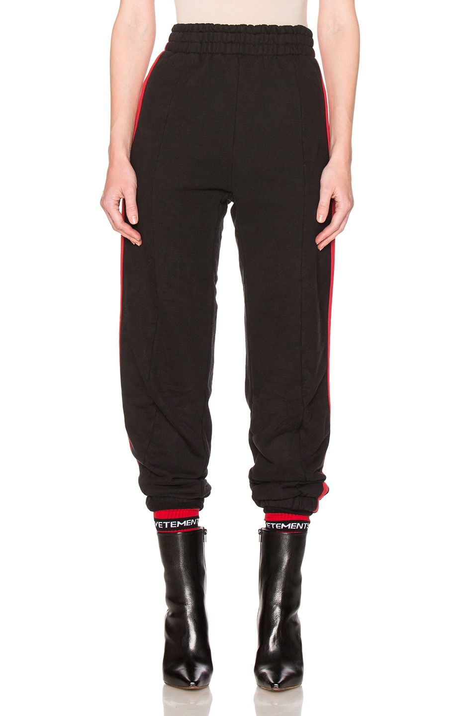 Image 1 of VETEMENTS Biker Sweatpants with Red Stripes in Black