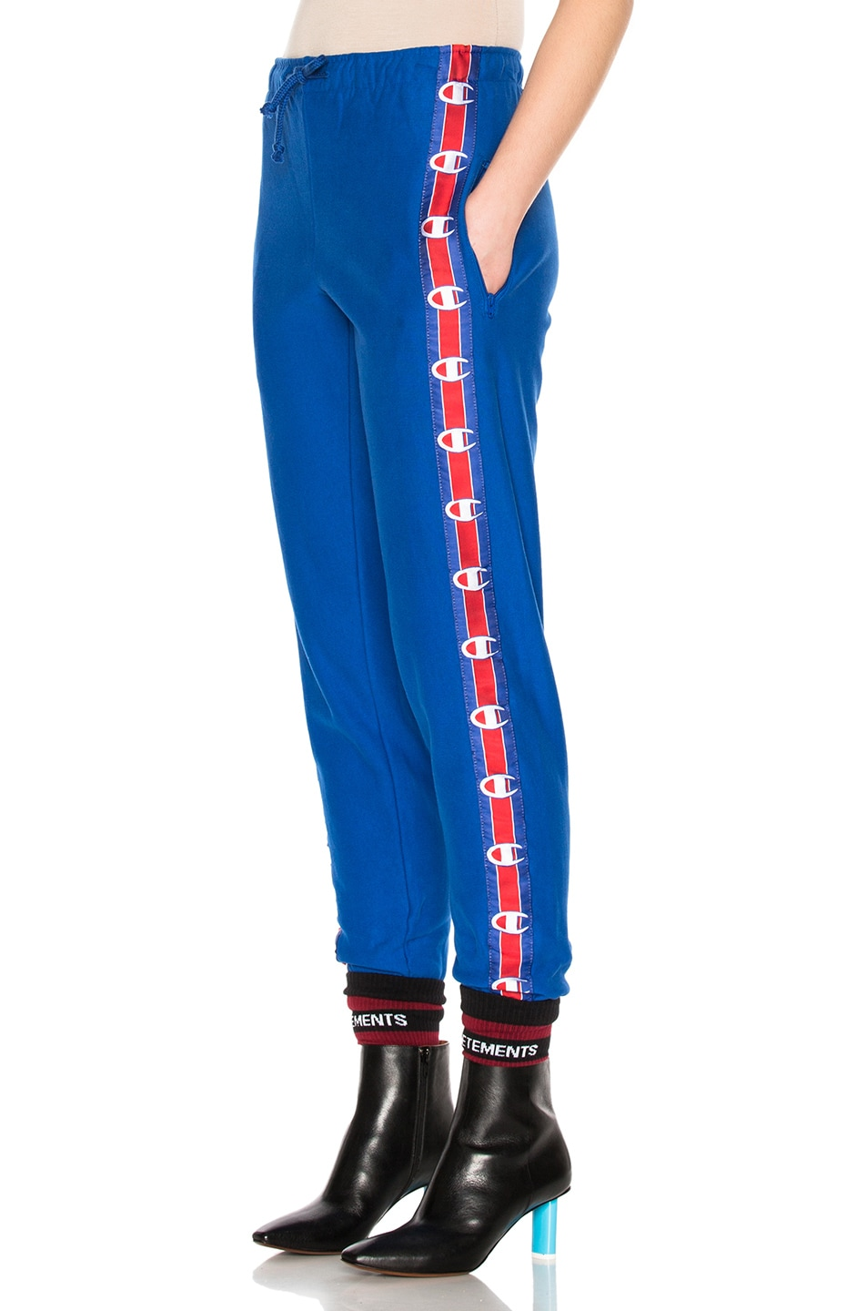 Image 3 of VETEMENTS x Champion Knee Shaped Tape Sweatpants in Blue