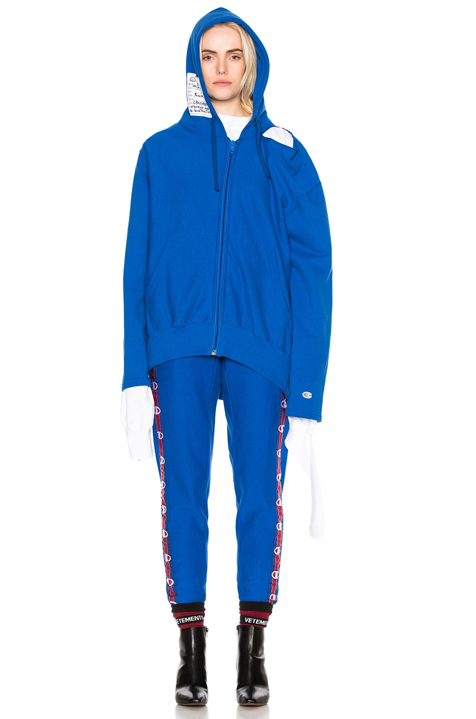 Image 6 of VETEMENTS x Champion Knee Shaped Tape Sweatpants in Blue