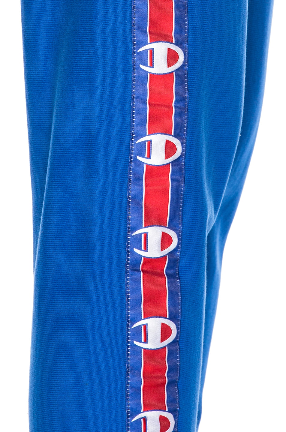 Image 7 of VETEMENTS x Champion Knee Shaped Tape Sweatpants in Blue