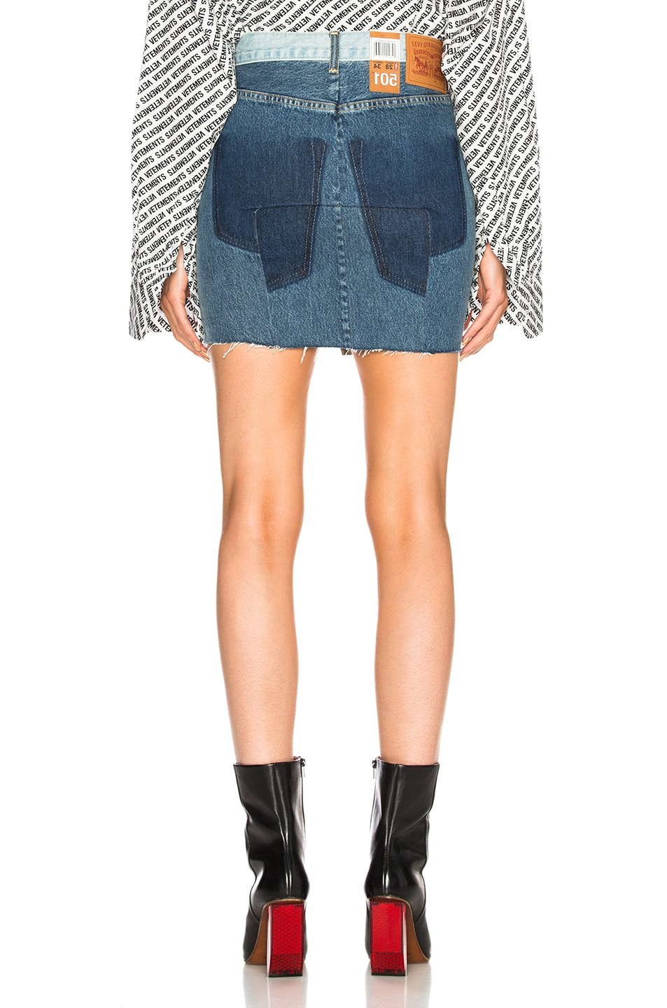 Image 3 of VETEMENTS x Levis Denim Mini Skirt in Blue
