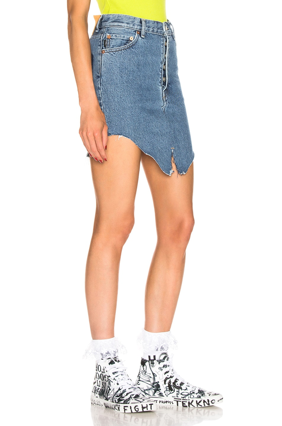 Image 2 of VETEMENTS Side Cut Denim Skirt in Blue