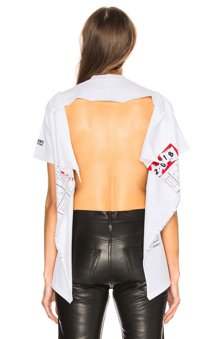 Image 5 of VETEMENTS Open Back Graphic Tee in White