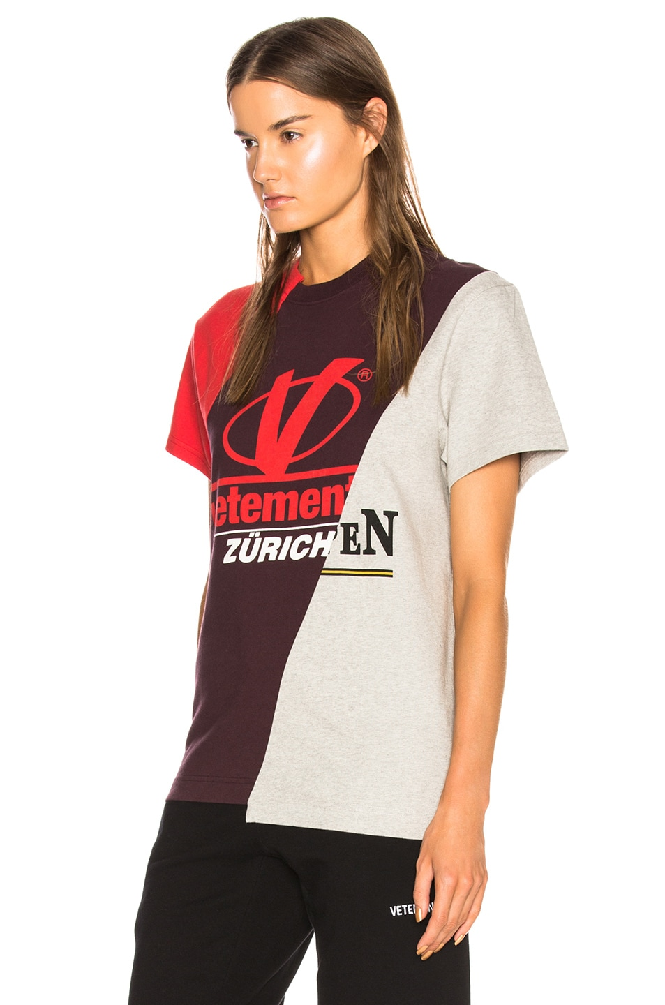 Image 4 of VETEMENTS Cutup Graphic Tee in Red Multicolor