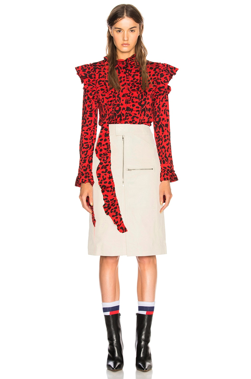 Image 1 of VETEMENTS Leopard Print Ruffle Blouse in Red & Black