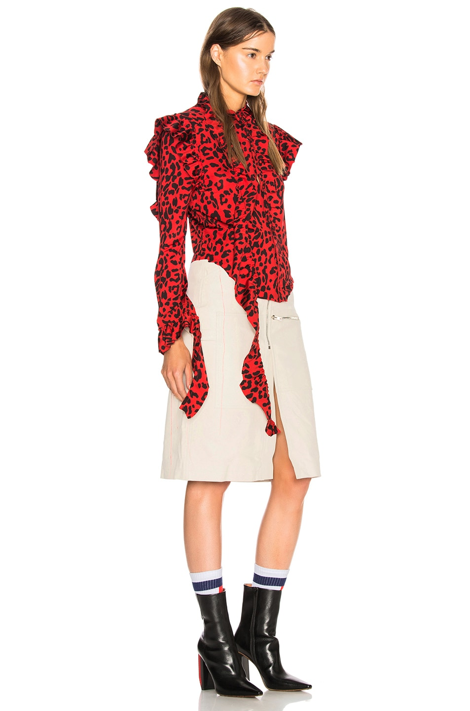 Image 2 of VETEMENTS Leopard Print Ruffle Blouse in Red & Black