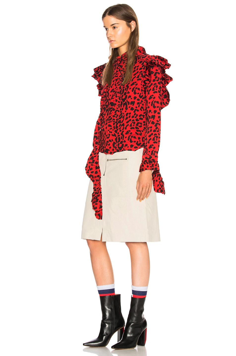 Image 3 of VETEMENTS Leopard Print Ruffle Blouse in Red & Black