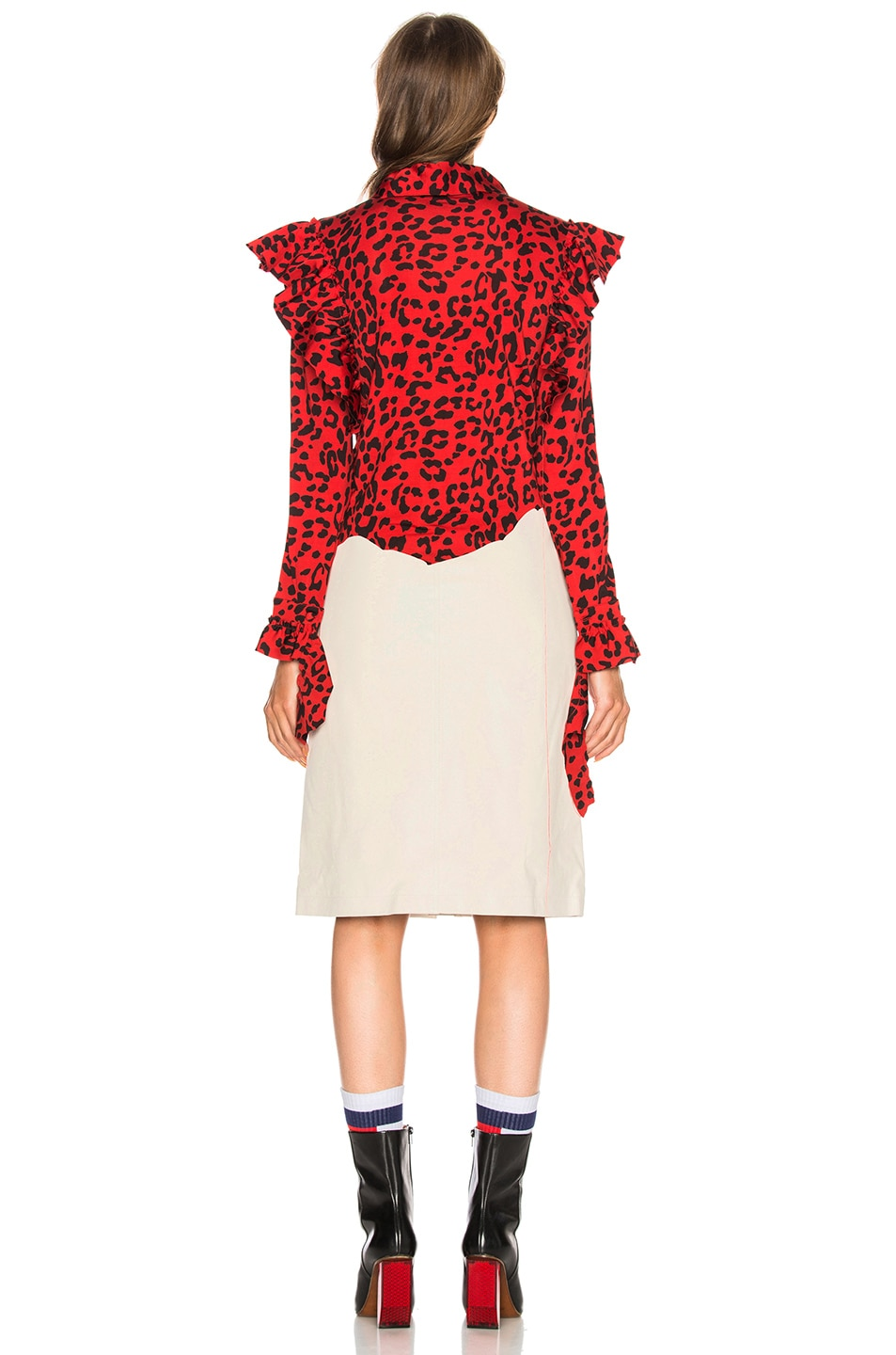 Image 4 of VETEMENTS Leopard Print Ruffle Blouse in Red & Black
