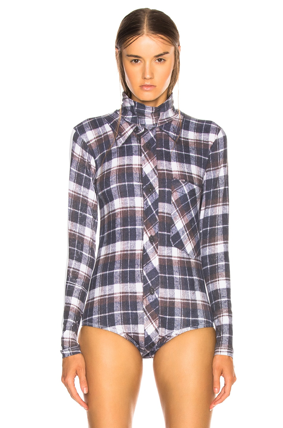 Image 2 of VETEMENTS Shirt Print Long Sleeve Bodysuit in Check Shirt