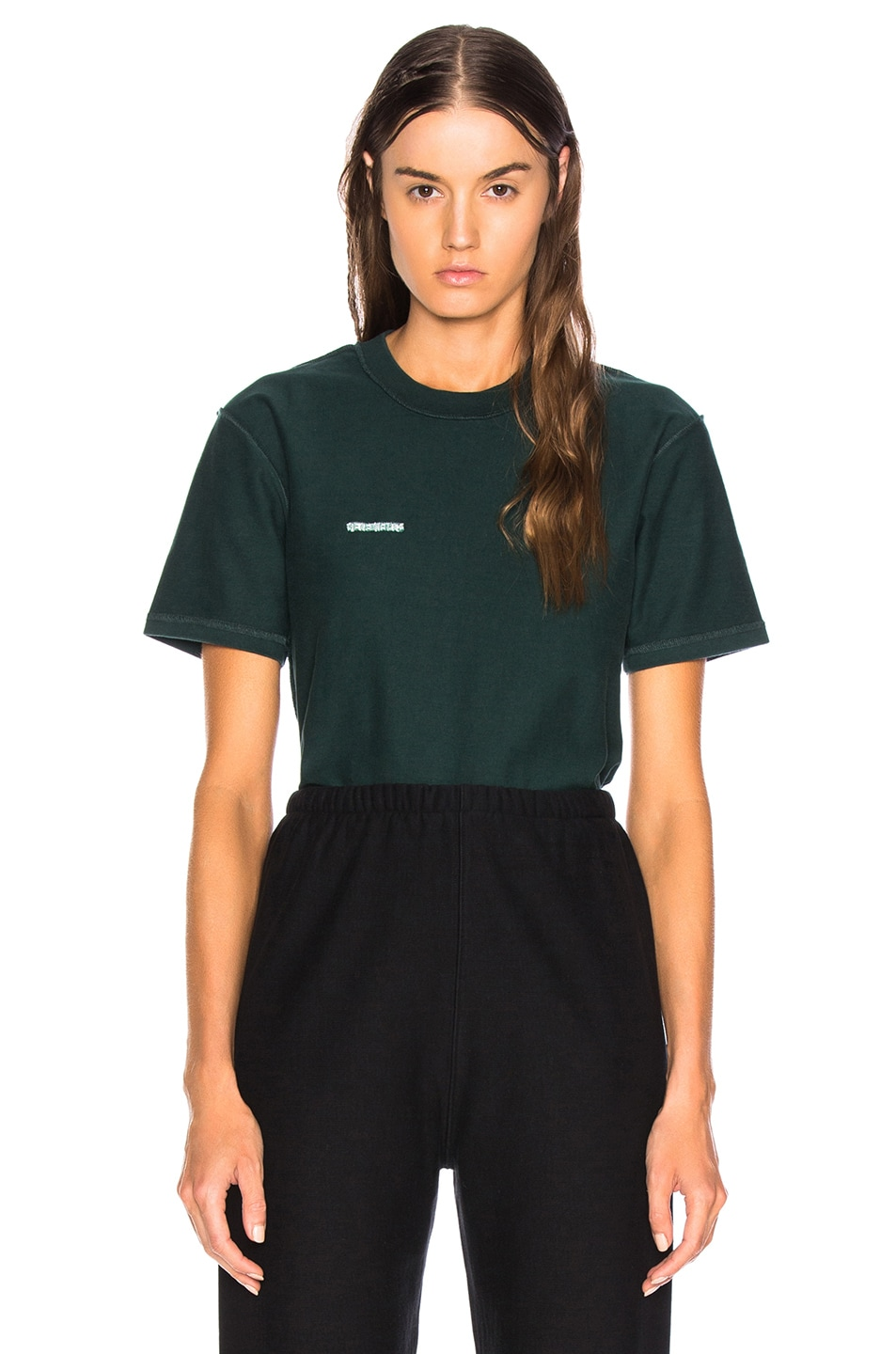 Image 1 of VETEMENTS Fitted Inside Out Tee in Dark Green