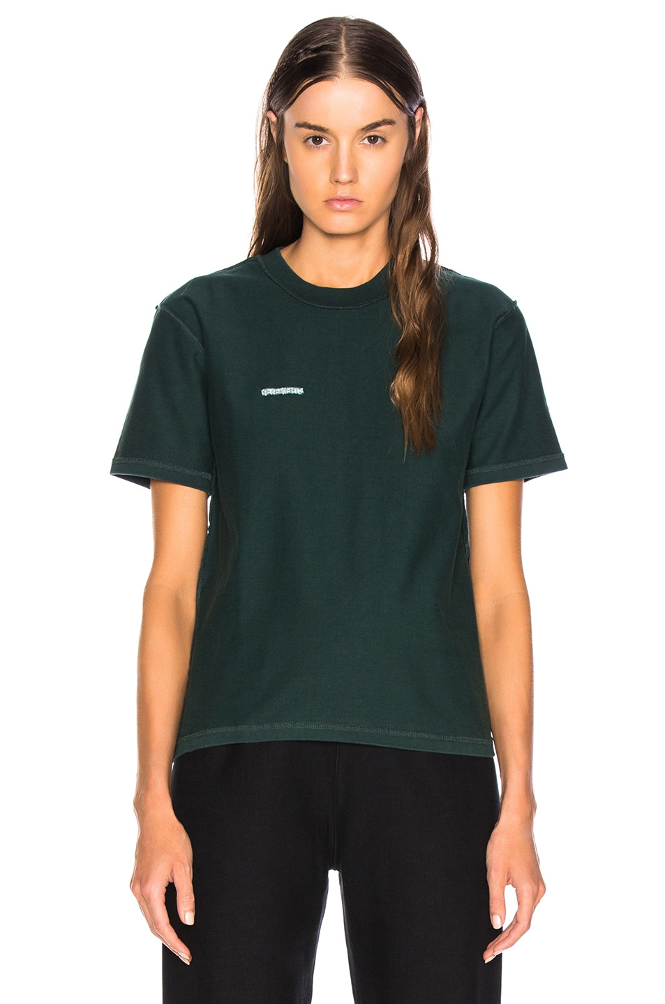 Image 2 of VETEMENTS Fitted Inside Out Tee in Dark Green