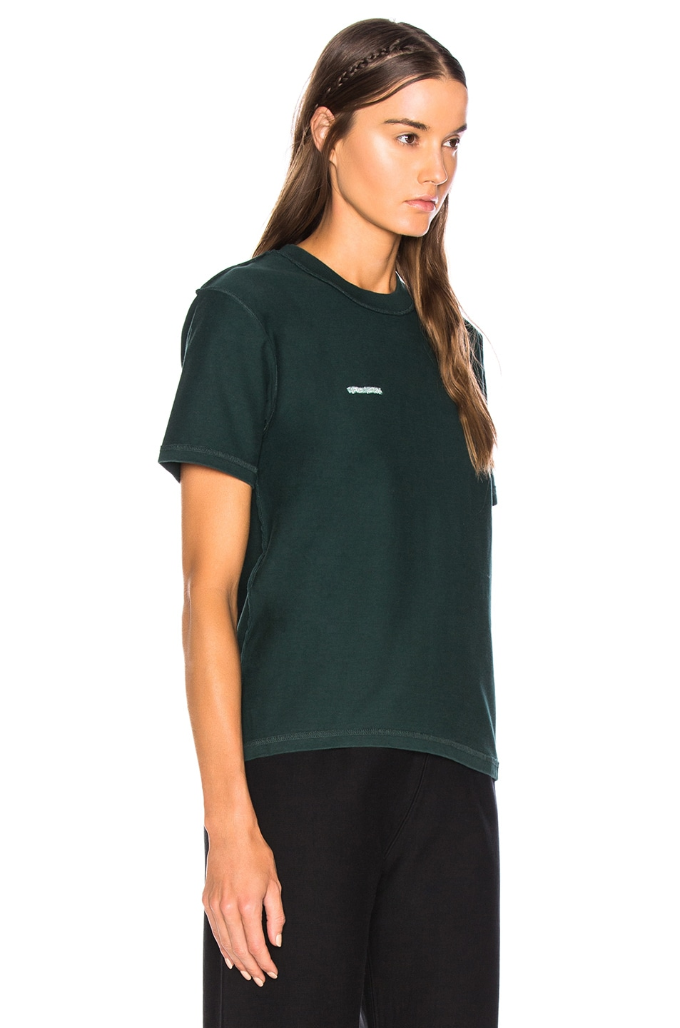 Image 3 of VETEMENTS Fitted Inside Out Tee in Dark Green