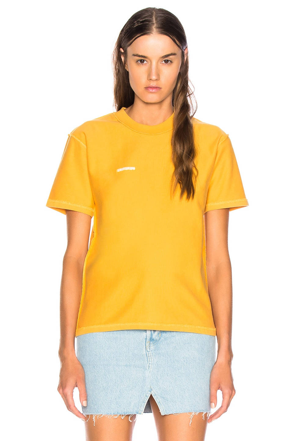 Image 2 of VETEMENTS Fitted Inside Out Tee in Yellow