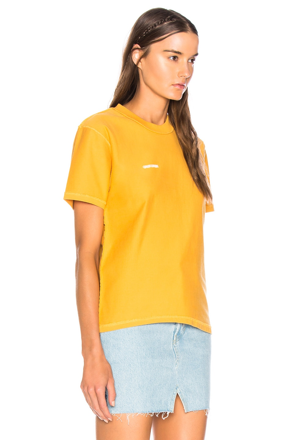 Image 3 of VETEMENTS Fitted Inside Out Tee in Yellow