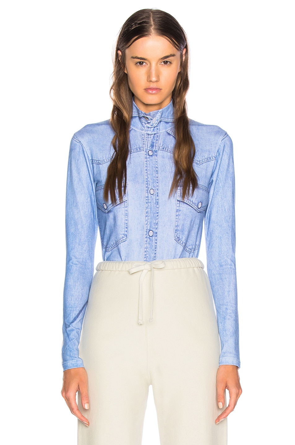 Image 1 of VETEMENTS Shirt Print Long Sleeve Bodysuit in Blue Denim 9a3937ac6