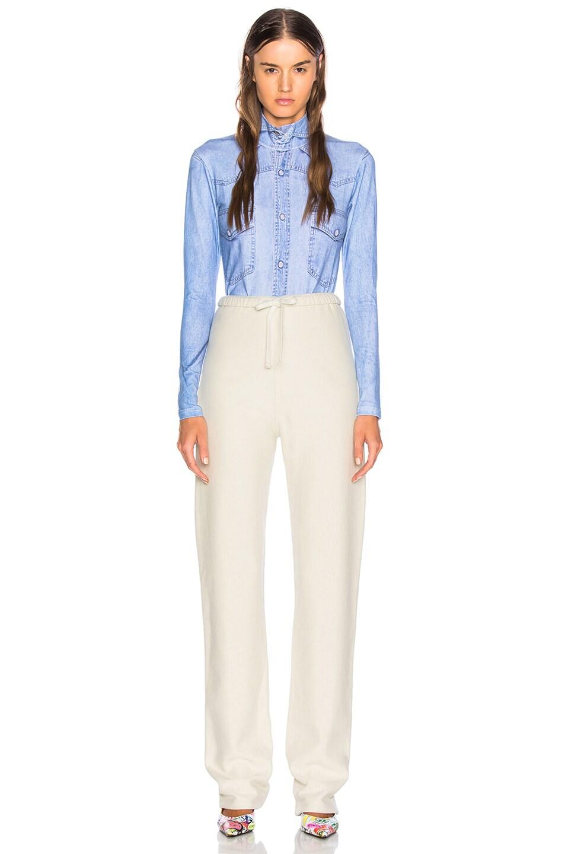 Image 5 of VETEMENTS Shirt Print Long Sleeve Bodysuit in Blue Denim
