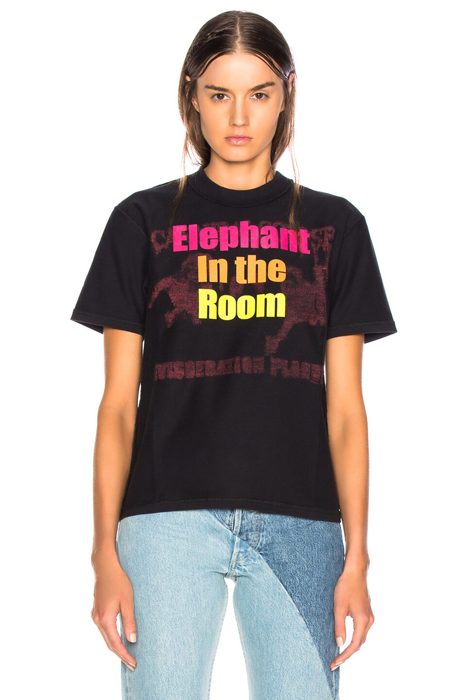 Image 2 of VETEMENTS Shake Your Head Tee in Black & Elephant