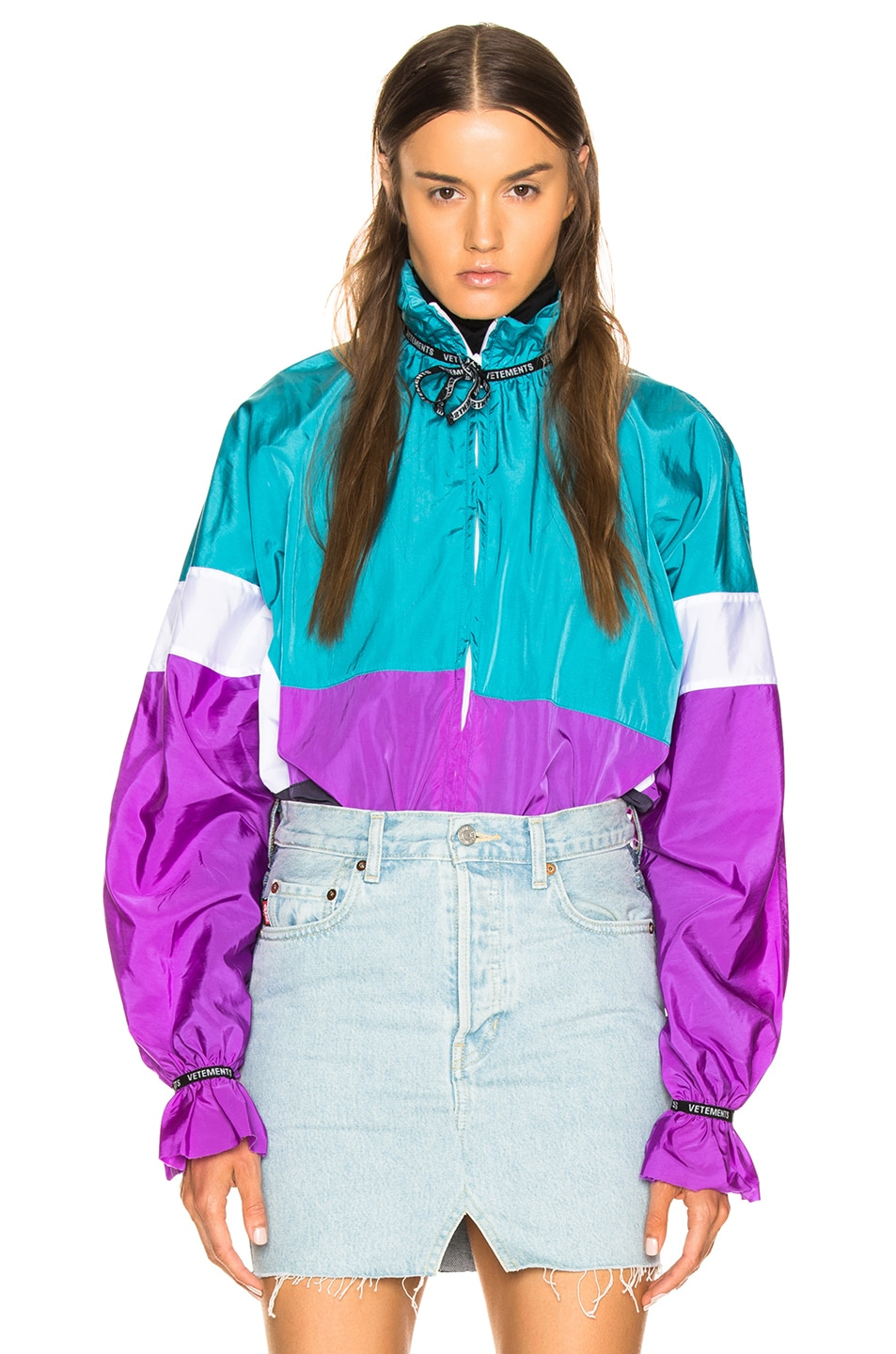 Image 1 of VETEMENTS Tracksuit Blouse in Blue, White & Purple