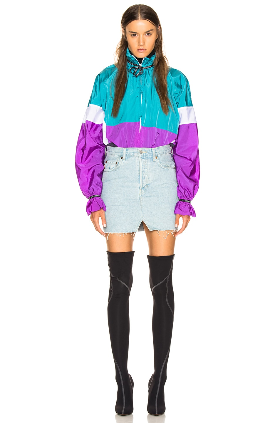Image 5 of VETEMENTS Tracksuit Blouse in Blue, White & Purple