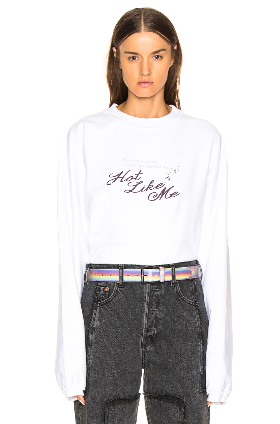 Image 1 of VETEMENTS Inside Out Long Sleeve Graphic Tee in White & Hot Like Me