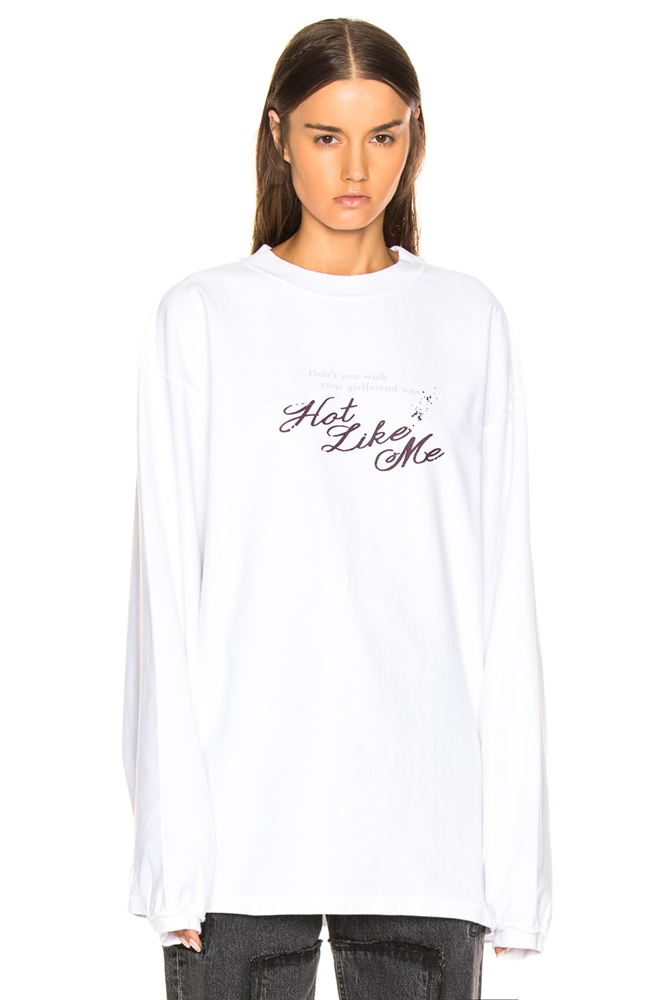 Image 2 of VETEMENTS Inside Out Long Sleeve Graphic Tee in White & Hot Like Me