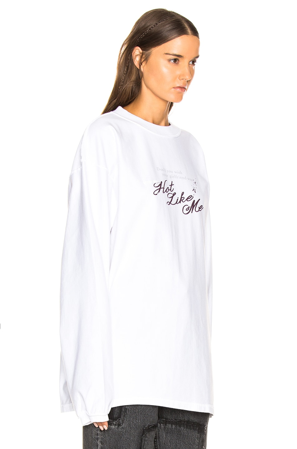 Image 3 of VETEMENTS Inside Out Long Sleeve Graphic Tee in White & Hot Like Me