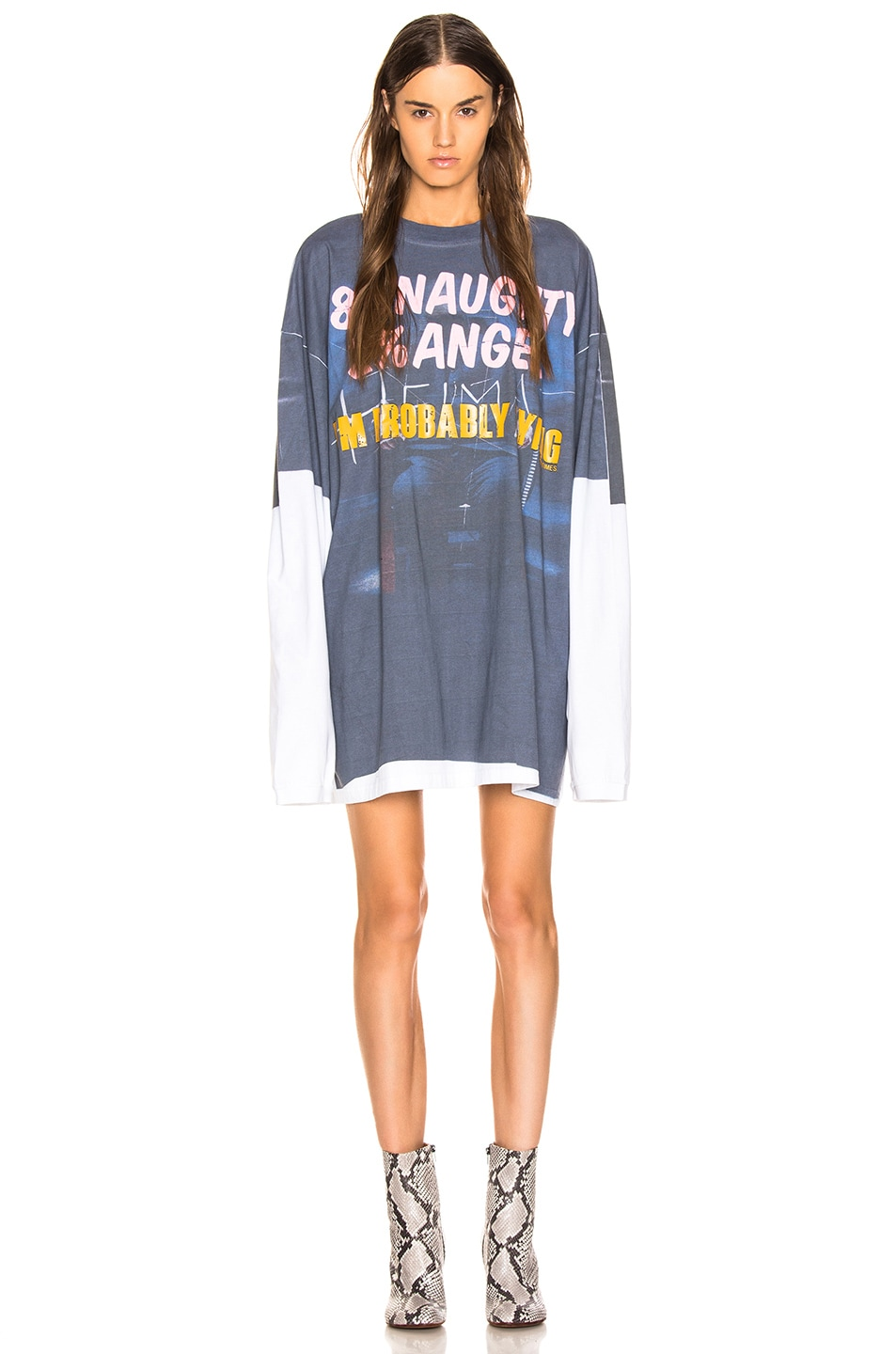 "Image 1 of VETEMENTS Demna's Favorite Long Sleeve ""Naughty Angel"" in Blue & Grey"