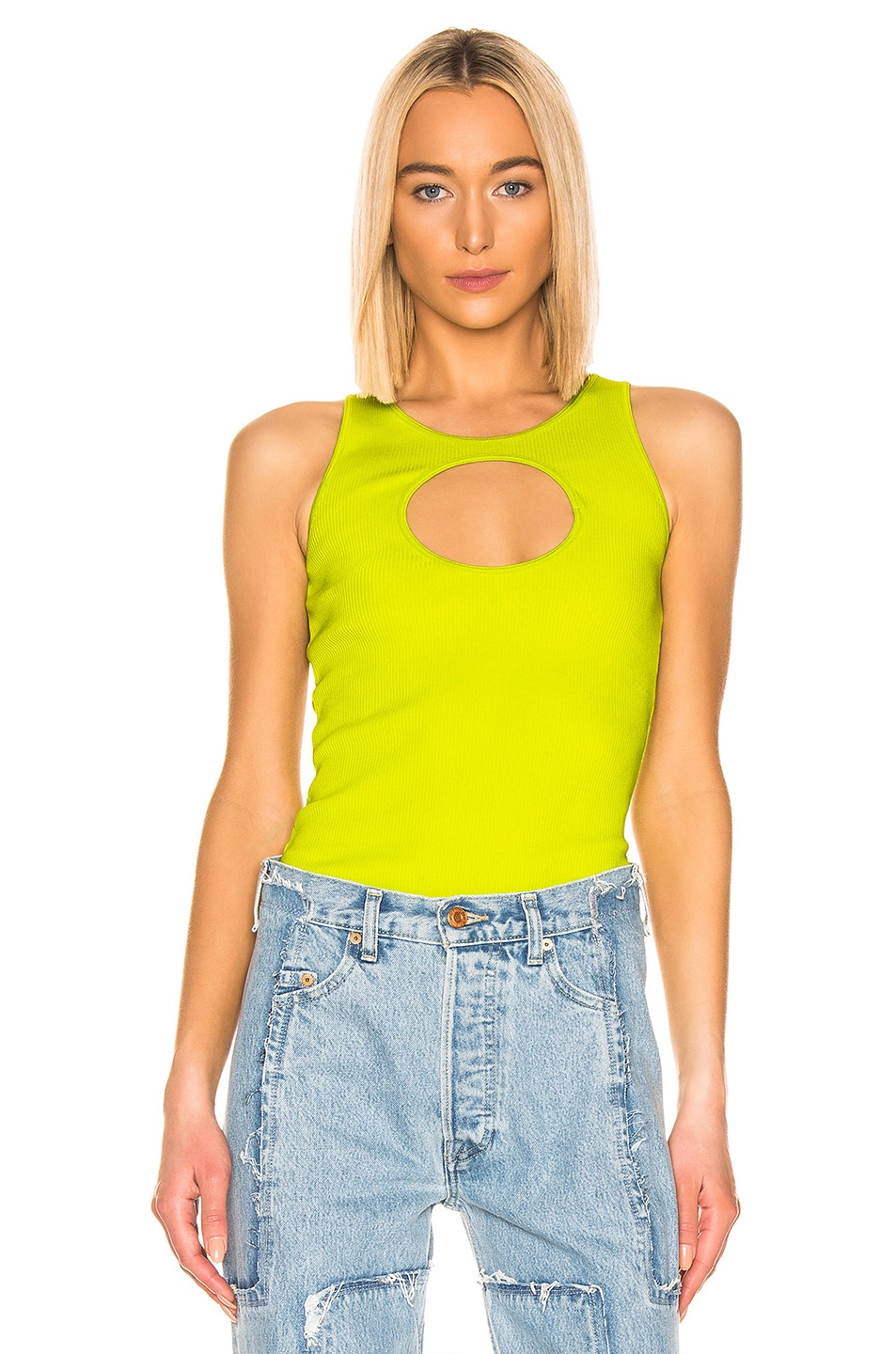 Image 1 of VETEMENTS Hole Tank Top in Neon Green