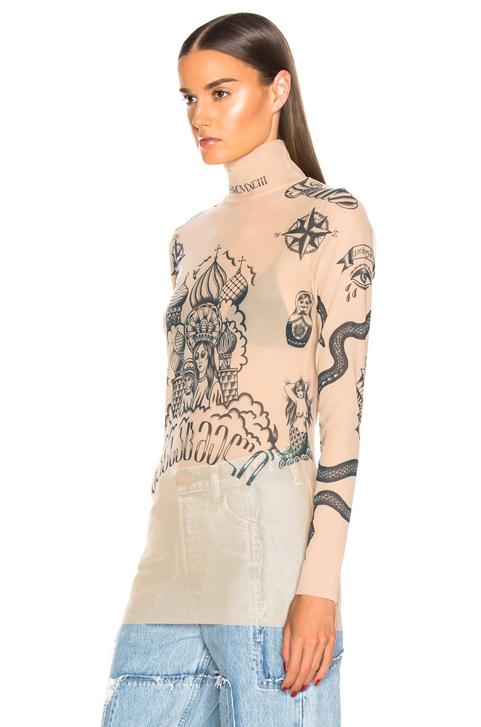 Image 4 of VETEMENTS Tattoo Top in Skin