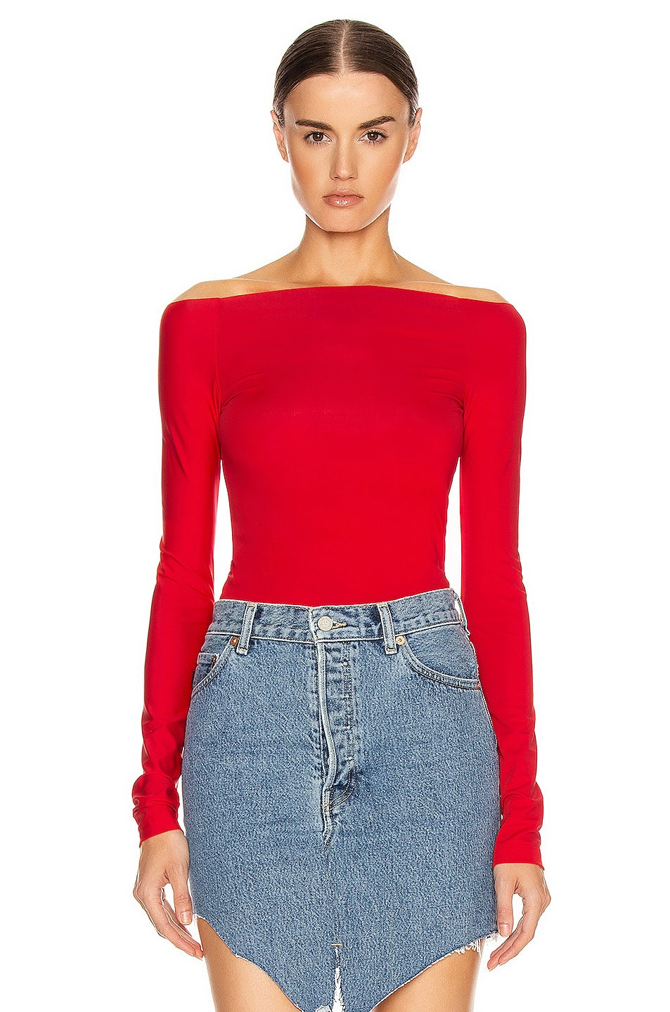 Image 1 of VETEMENTS Open Shoulder Top in Red