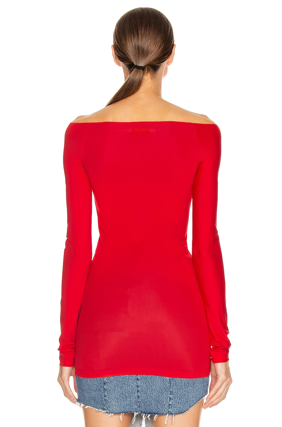 Image 3 of VETEMENTS Open Shoulder Top in Red
