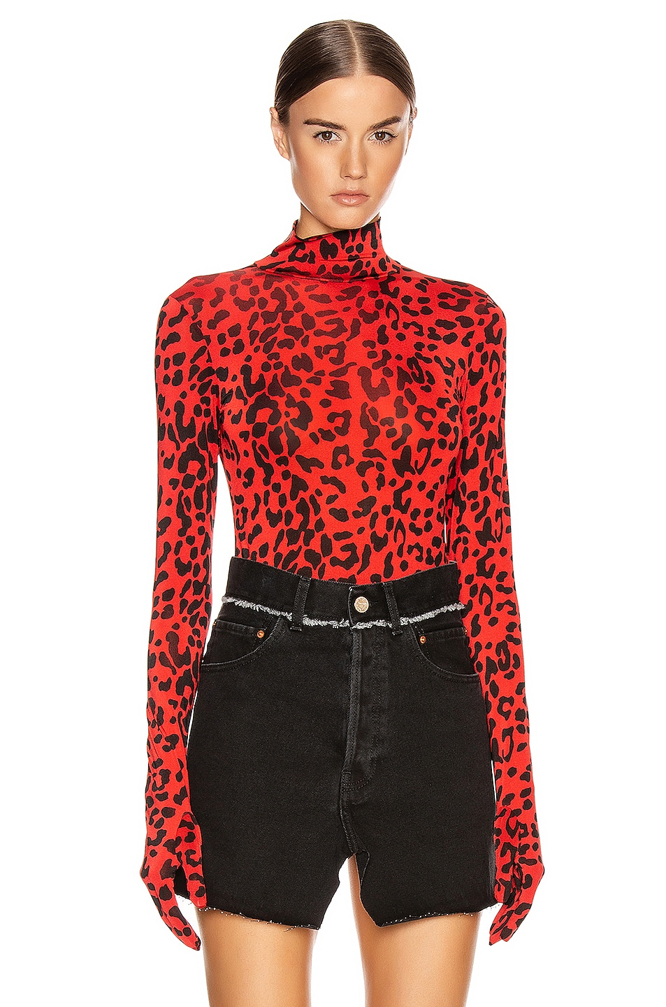 Image 1 of VETEMENTS Gloves Bodysuit in Red Leopard