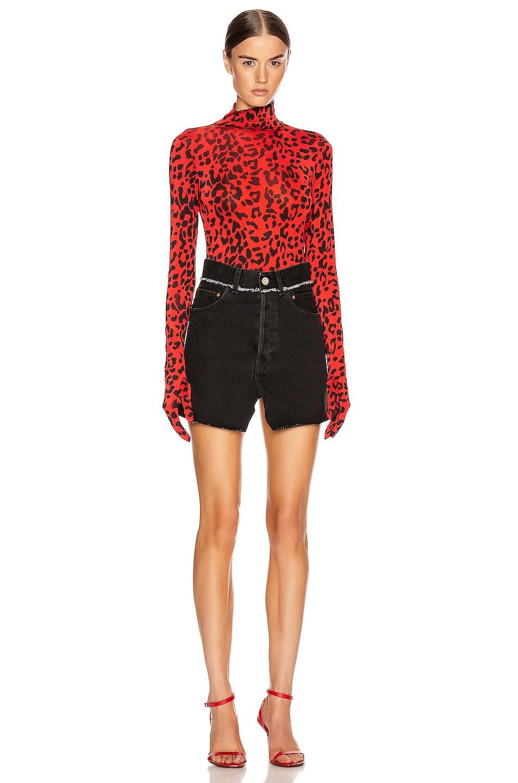Image 5 of VETEMENTS Gloves Bodysuit in Red Leopard