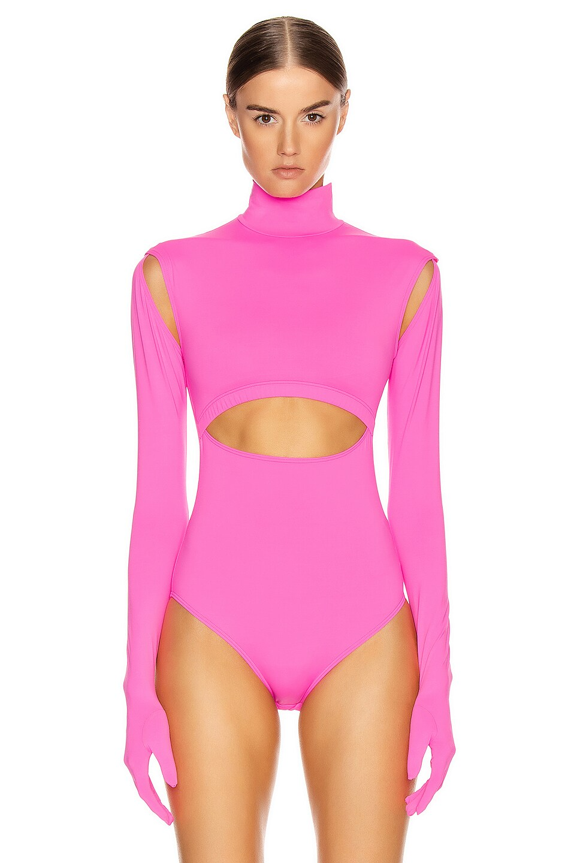 Image 2 of VETEMENTS Cut Up Bodysuit in Fluo Pink