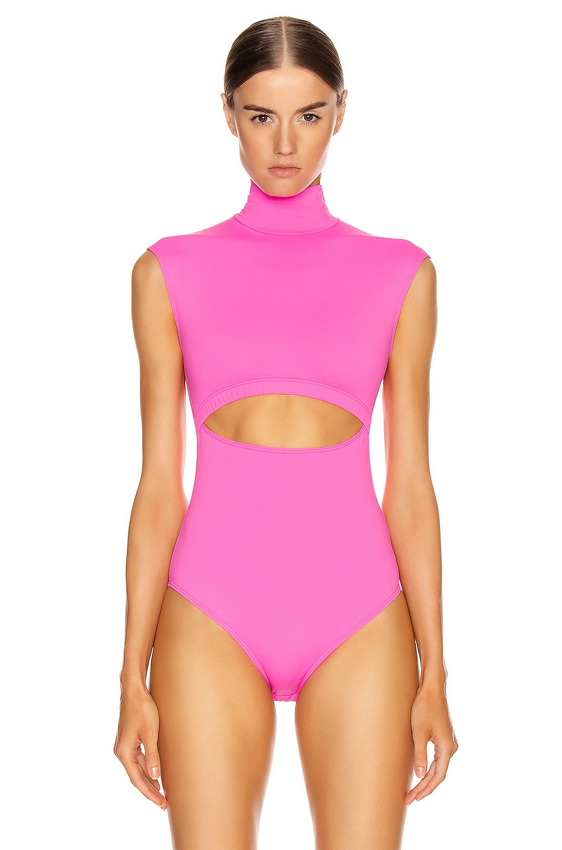 Image 3 of VETEMENTS Cut Up Bodysuit in Fluo Pink
