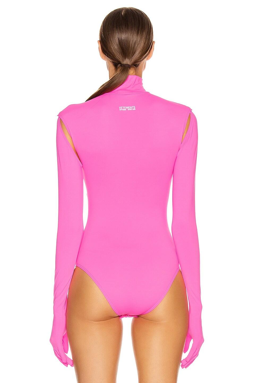 Image 5 of VETEMENTS Cut Up Bodysuit in Fluo Pink