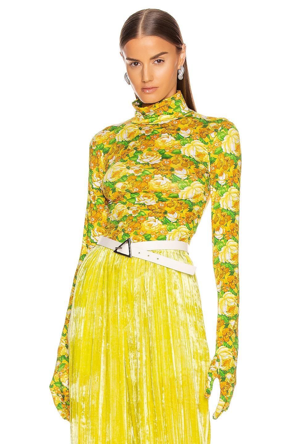 Image 1 of VETEMENTS Styling Top with Gloves in Yellow Flowers