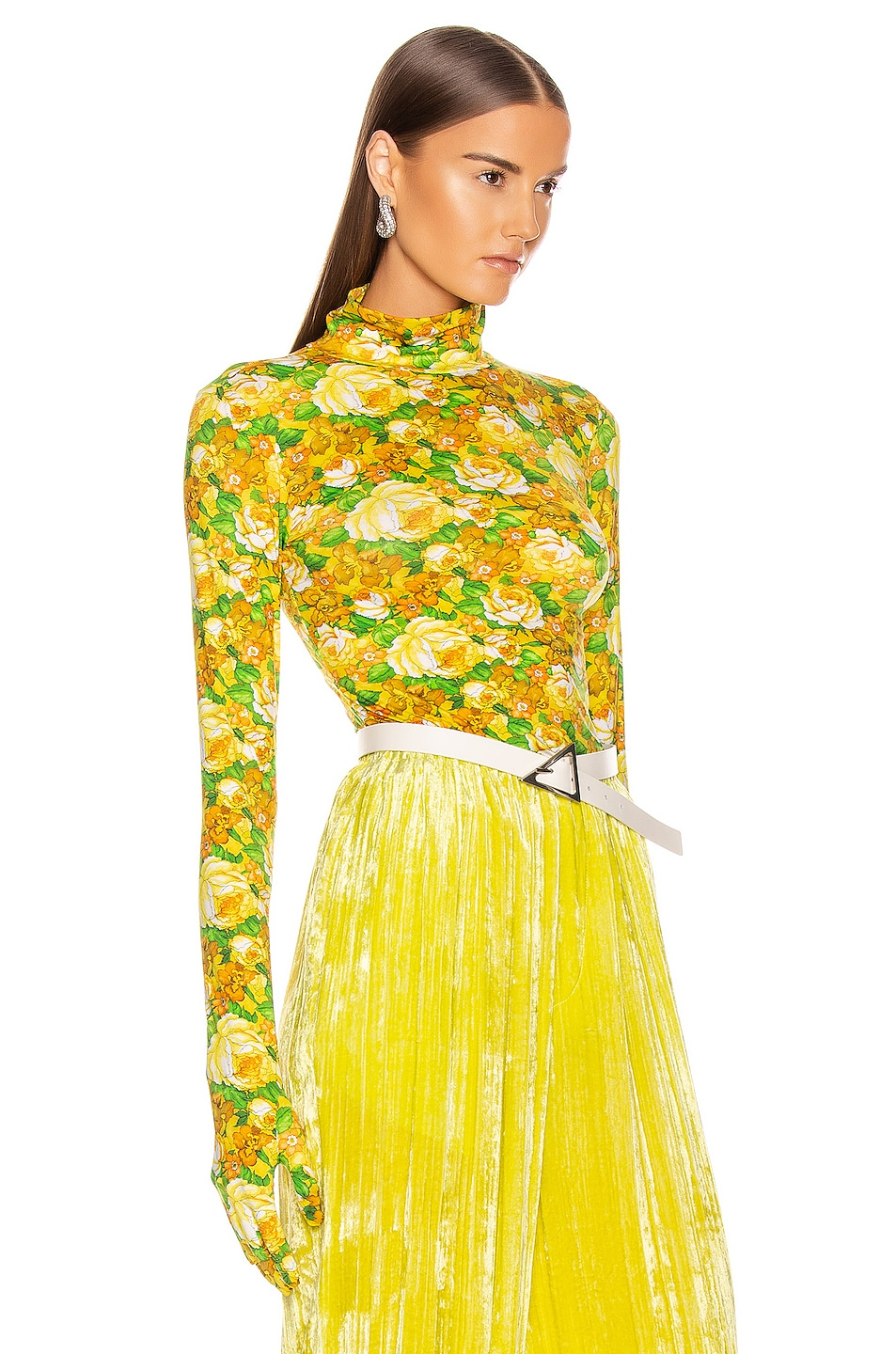 Image 2 of VETEMENTS Styling Top with Gloves in Yellow Flowers