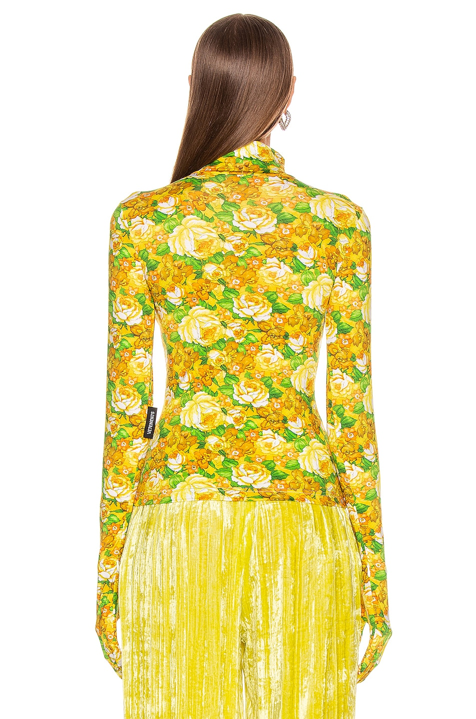 Image 3 of VETEMENTS Styling Top with Gloves in Yellow Flowers