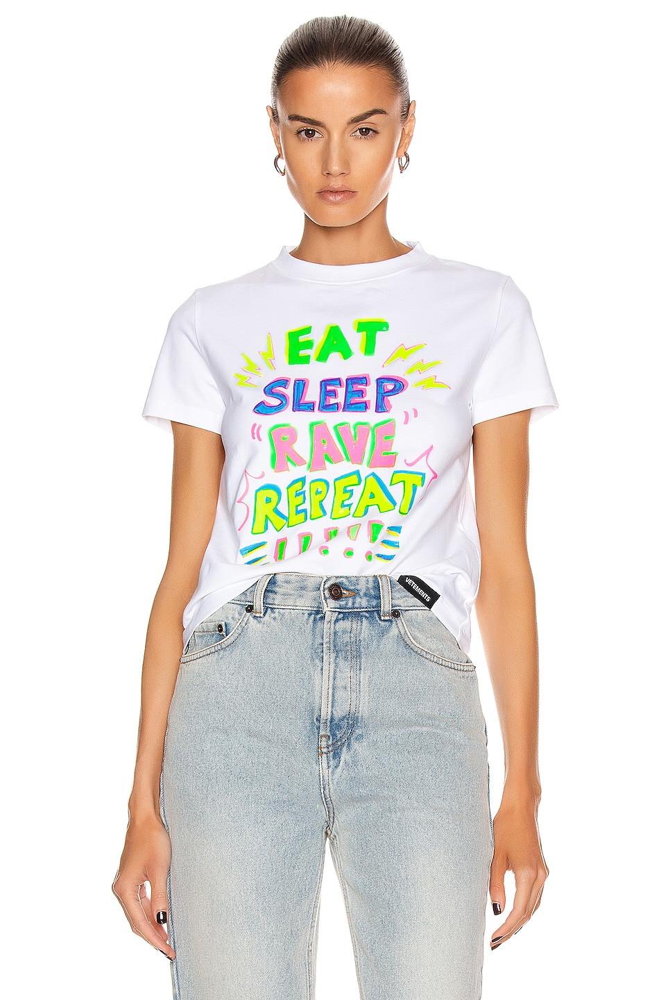 Image 1 of VETEMENTS Eat Sleep Rave Repeat T Shirt in White