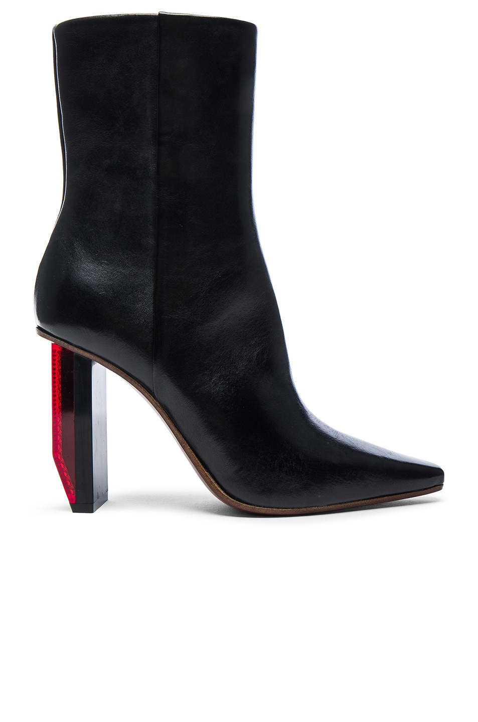 Image 1 of VETEMENTS Reflector Leather Ankle Boots in Black & Red