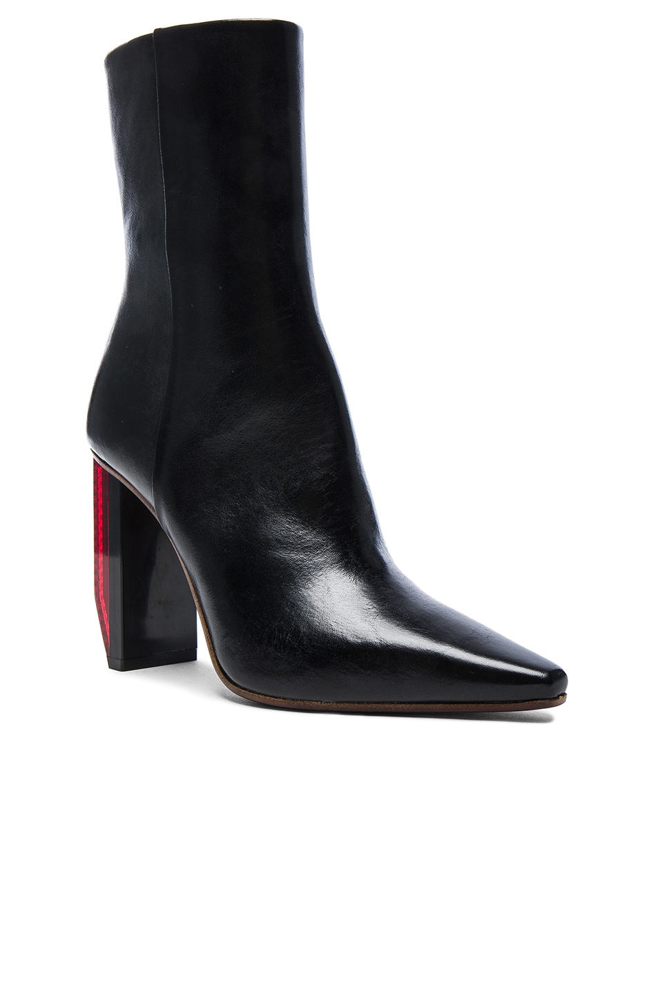 Image 2 of VETEMENTS Reflector Leather Ankle Boots in Black & Red
