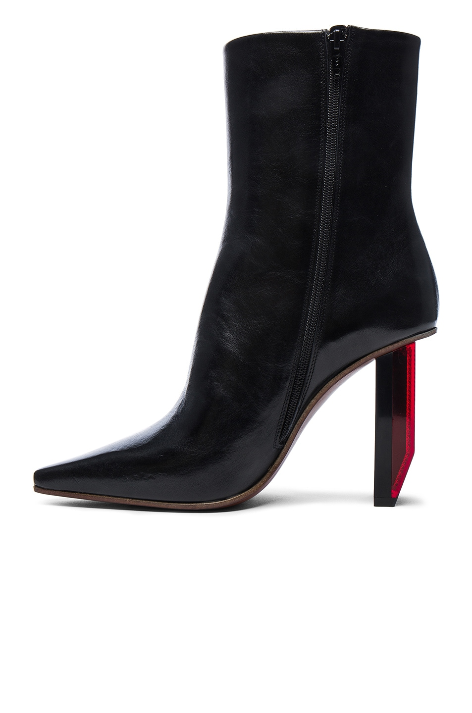 Image 5 of VETEMENTS Reflector Leather Ankle Boots in Black & Red