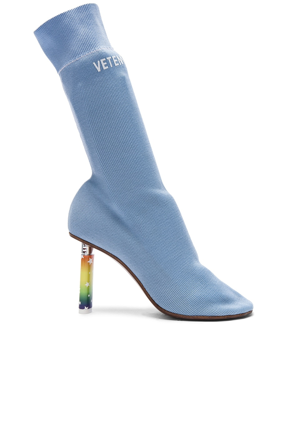 Image 1 of VETEMENTS Sock Ankle Boots in Light Blue & Stars