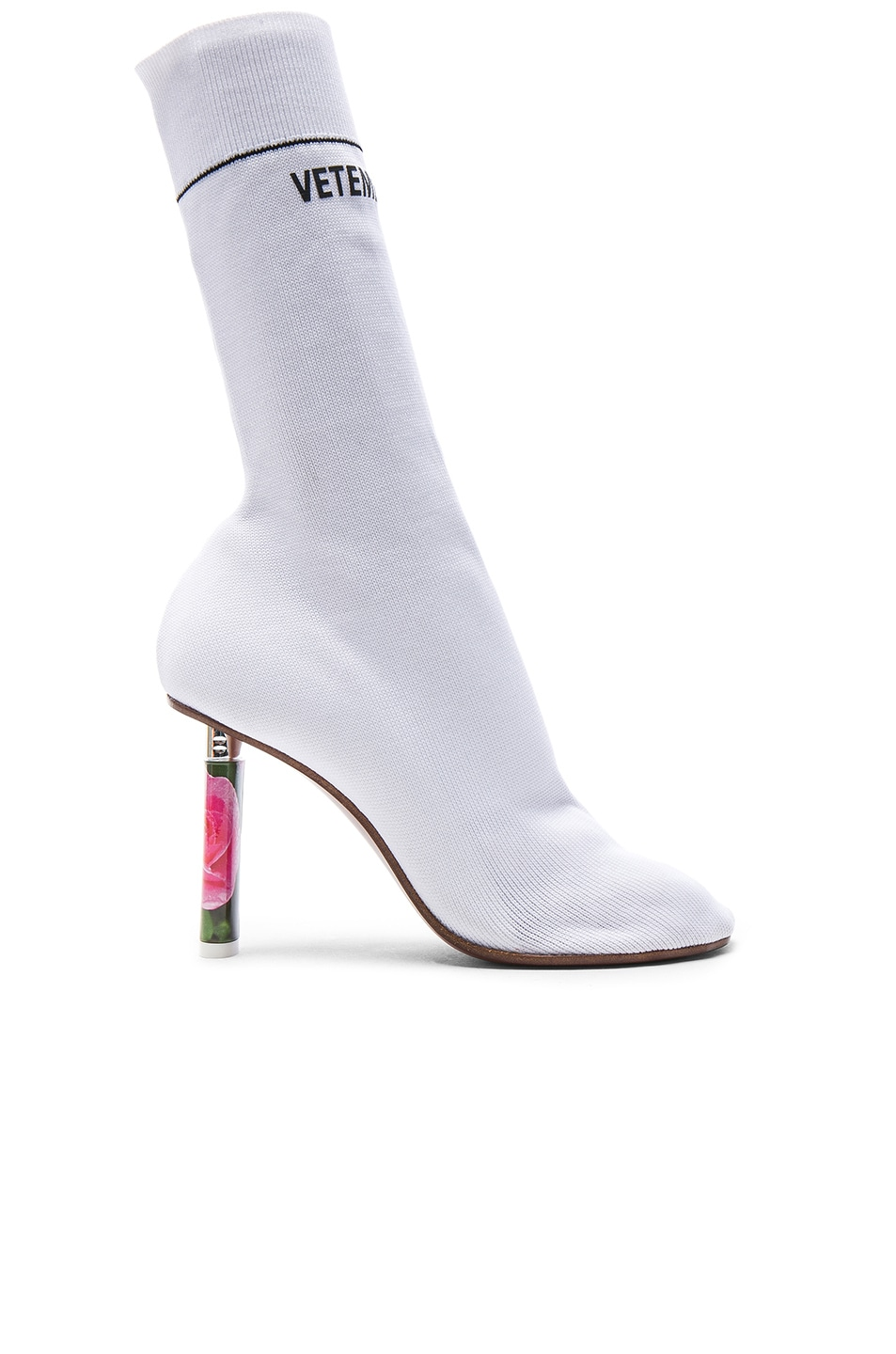 Image 1 of VETEMENTS Sock Ankle Boots in White & Roses